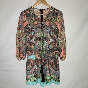 Bisou Bisou Romper With Paisley Print